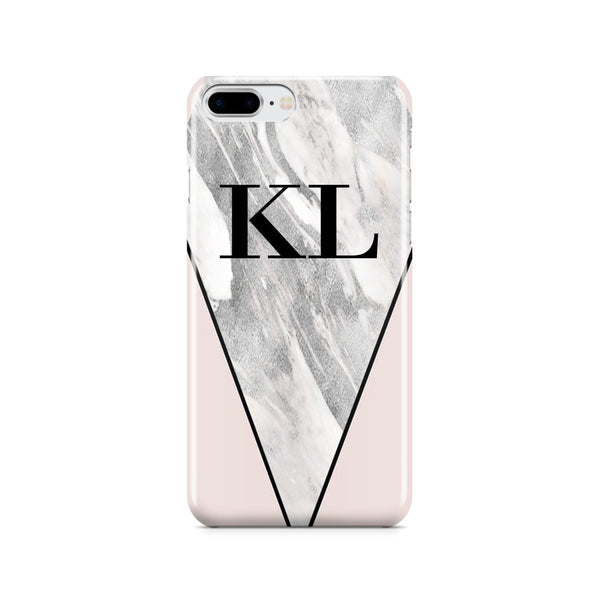 Personalised Pink x Castello Marble Contrast iPhone 8 Plus Case