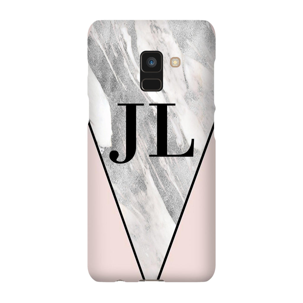 Personalised Pink x Castello Marble Contrast Samsung Galaxy A8 Case