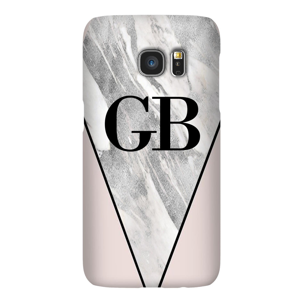 Personalised Pink x Castello Marble Contrast Samsung Galaxy S7 Case