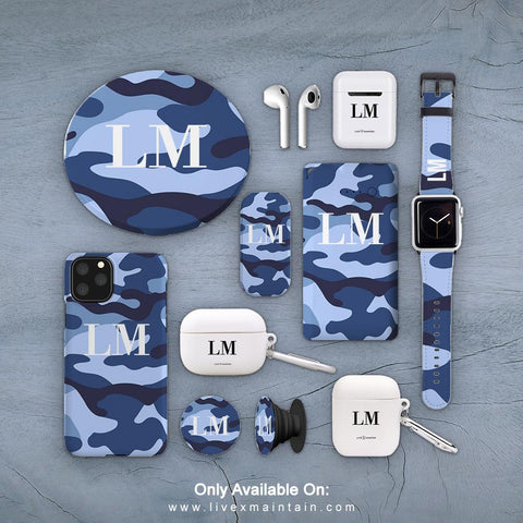 Personalised Cobalt Blue Camouflage Initials Phone Case Accessories Package
