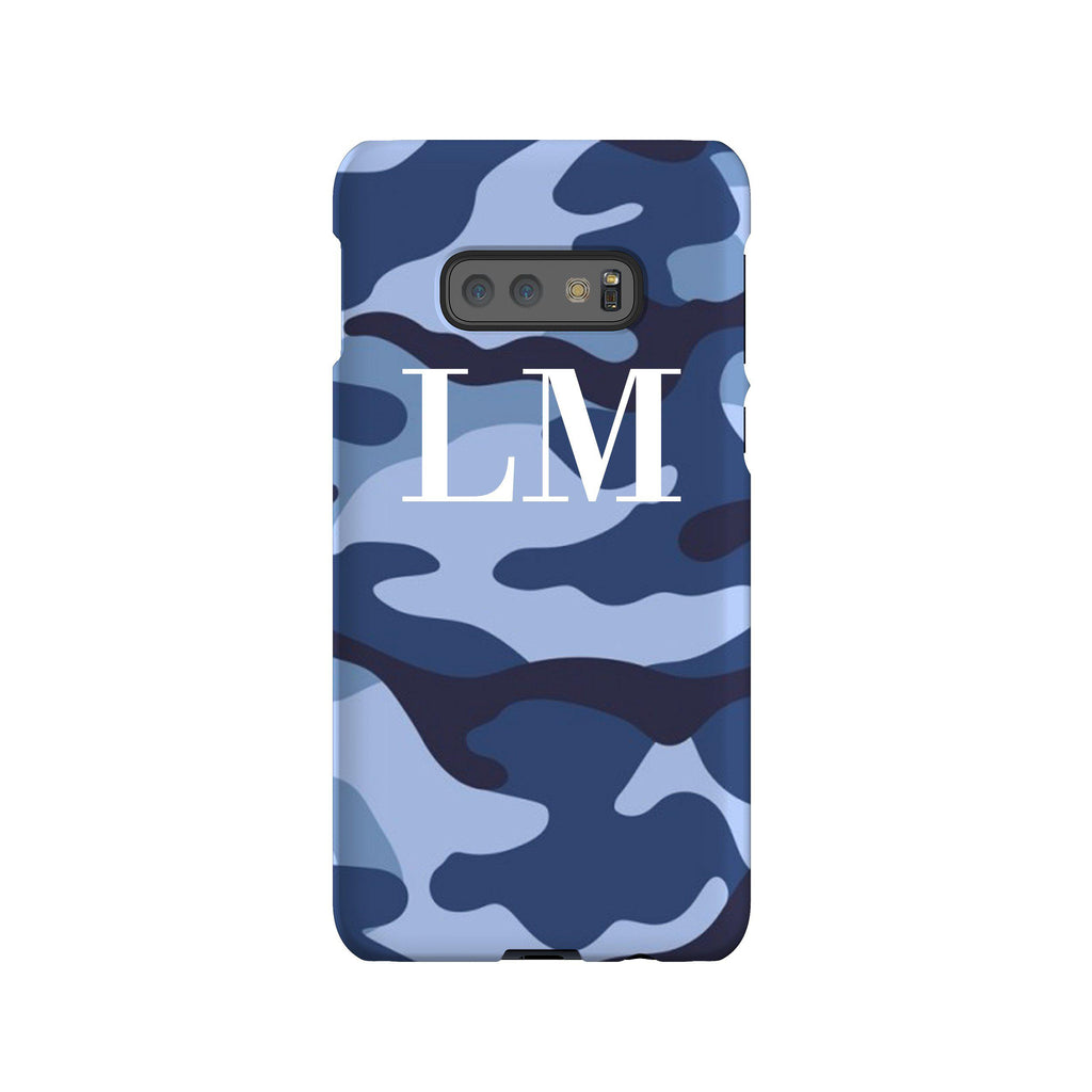Personalised Cobalt Blue Camouflage Initials Samsung Galaxy S10e Case