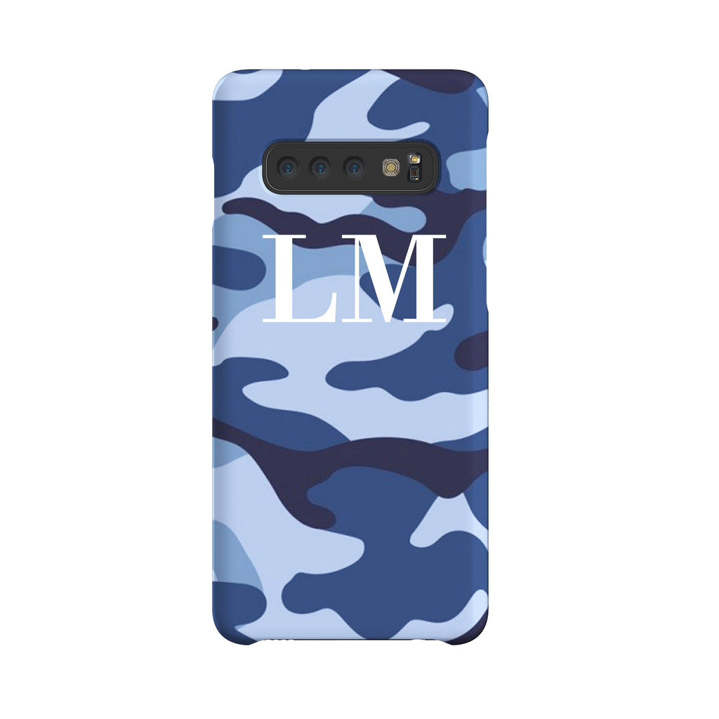 Personalised Cobalt Blue Camouflage Initials Samsung Galaxy S10 Plus Case