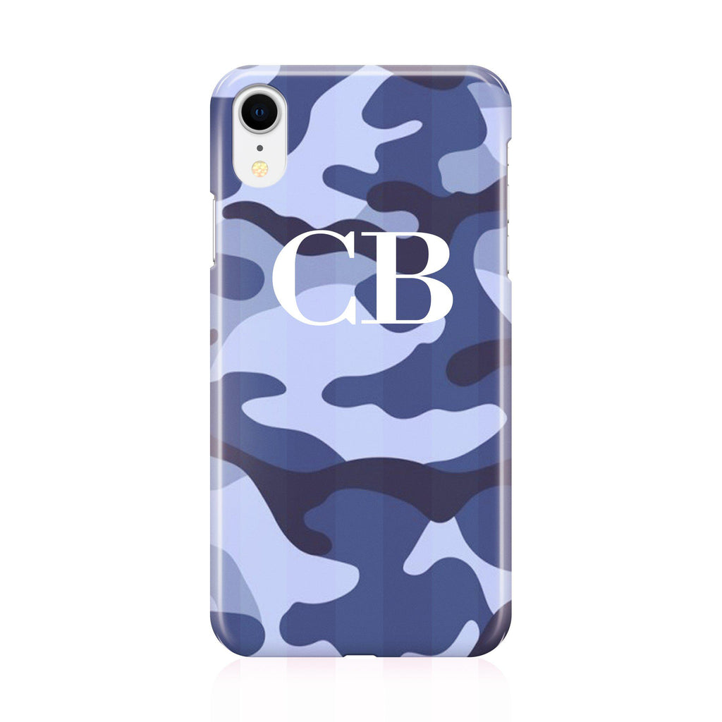 Personalised Cobalt Blue Camouflage Initials iPhone XR Case