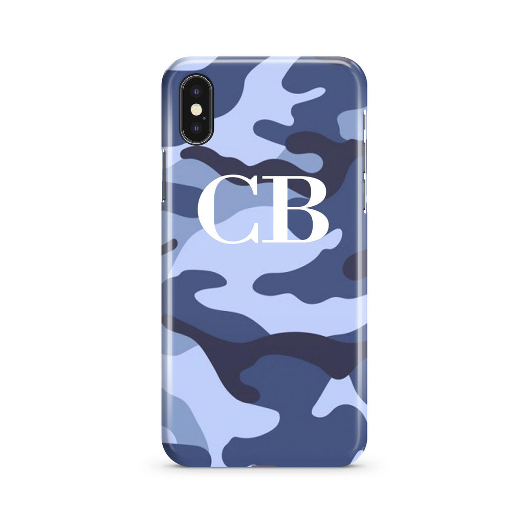 Personalised Cobalt Blue Camouflage Initials iPhone XS Case
