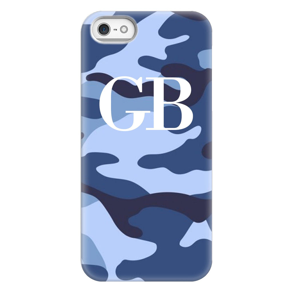 Personalised Cobalt Blue Camouflage initials iPhone 5/5s/SE (2016) Case