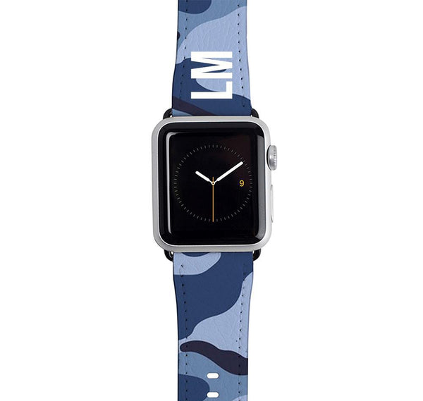 Personalised Cobalt Blue Camouflage Apple Watch Strap