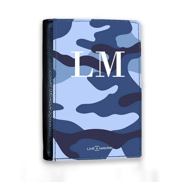 Personalised Cobalt Blue Camouflage Initials Passport Cover