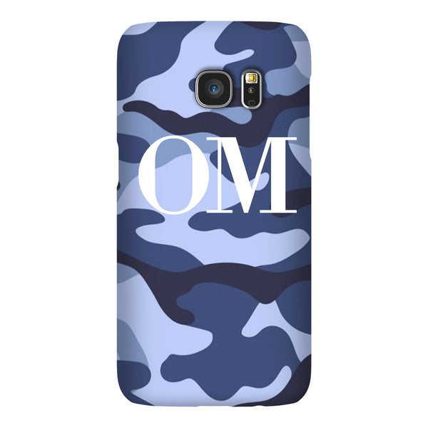 Personalised Cobalt Blue Camouflage Initials Samsung Galaxy S7 Edge Case
