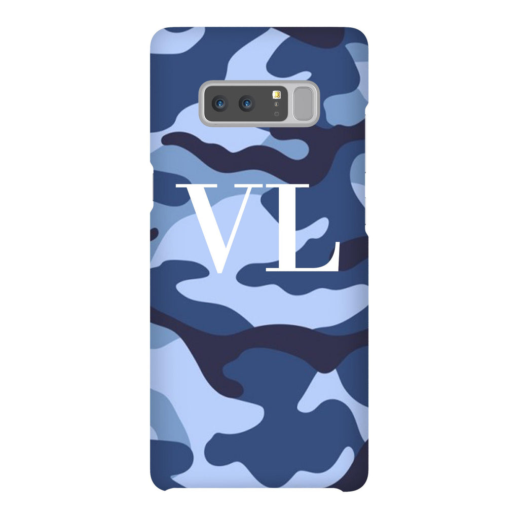Personalised Cobalt Blue Camouflage Initials Samsung Galaxy Note 8 Case