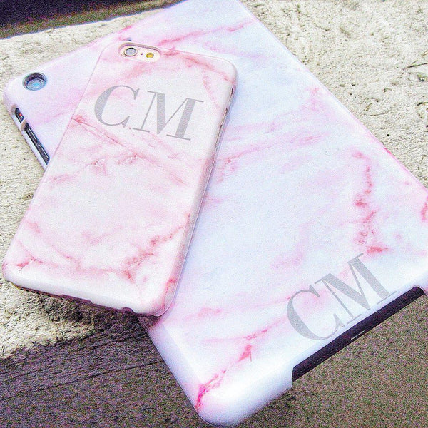 Personalised Cotton Candy Marble Initials iPhone 7 Case