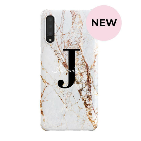 Personalised Cracked Marble Name Initials Samsung Galaxy A70 Case