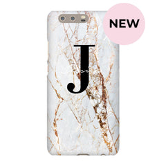 Personalised Cracked Marble Name Initials Huawei P10 Plus Case
