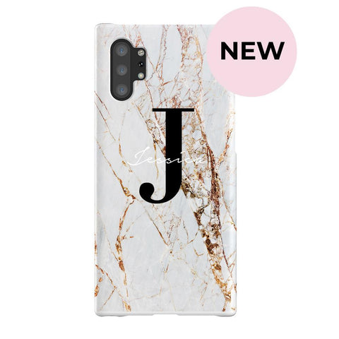 Personalised Cracked Marble Name Initials Samsung Galaxy Note 10+ Case