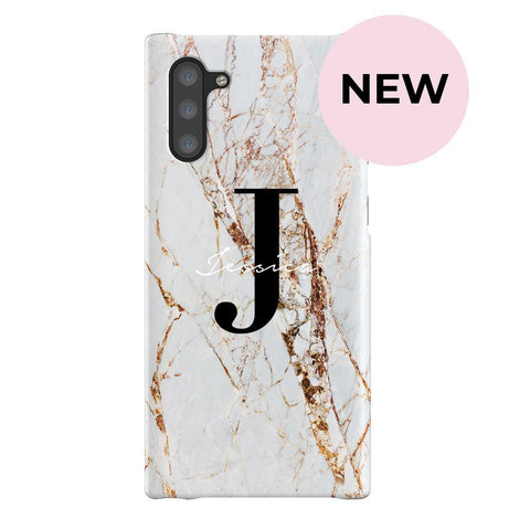 Personalised Cracked Marble Name Initials Samsung Galaxy Note 10 Case