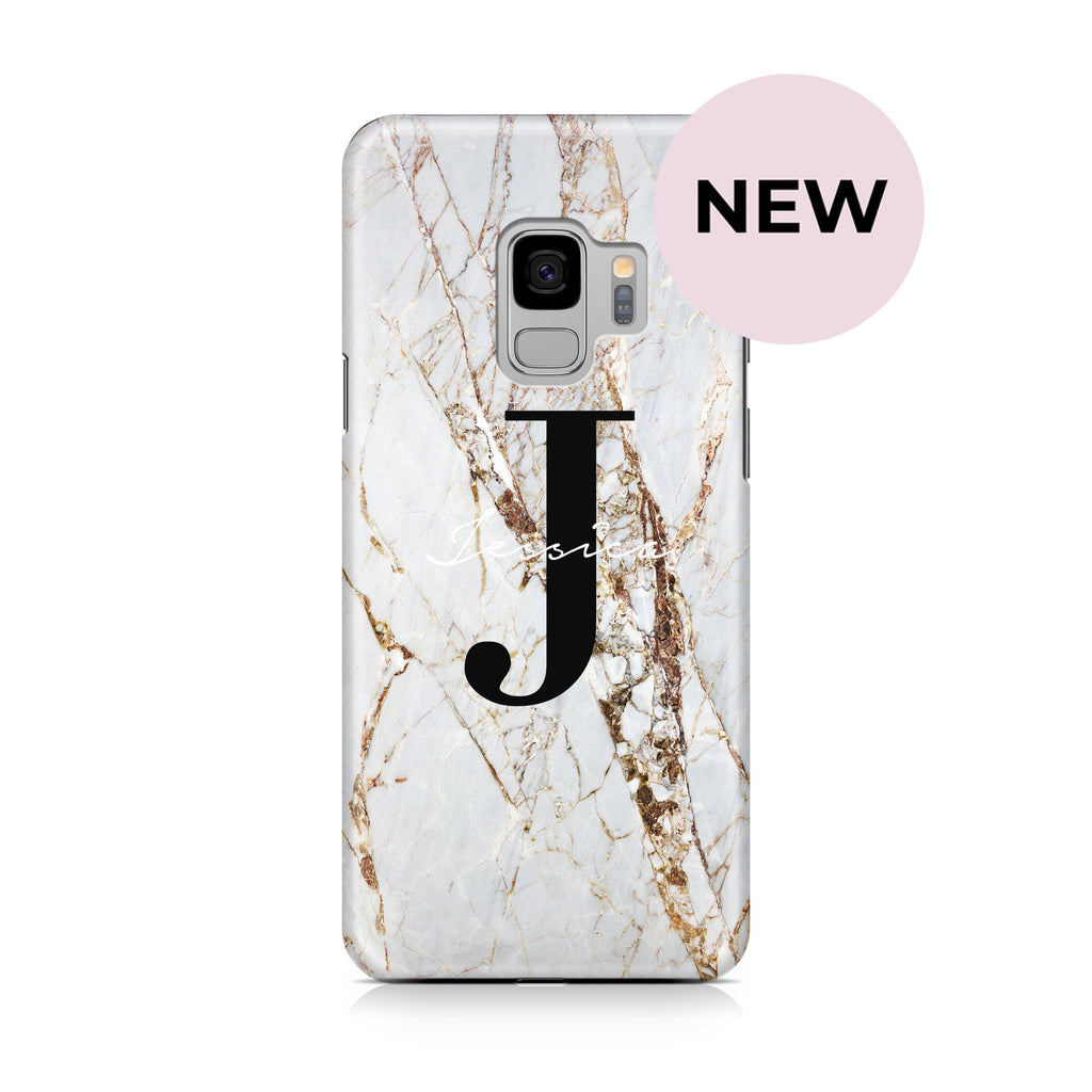 Personalised Cracked Marble Name Initials Samsung Galaxy S9 Case