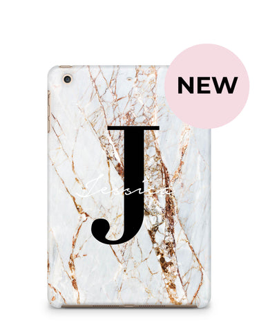 Personalised Cracked Marble Name Initials iPad Case