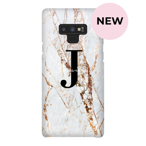 Personalised Cracked Marble Name Initials Samsung Galaxy Note 9 Case