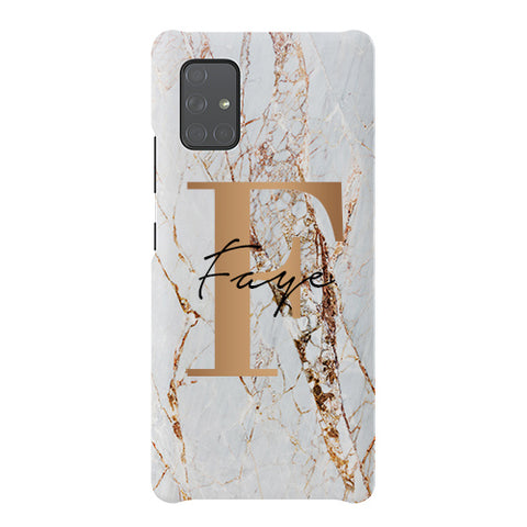 Personalised Cracked Marble Bronze Initials Samsung Galaxy A51 5G Case