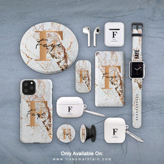 Personalised Cracked Marble Bronze Initial Phone Case Accessories Package