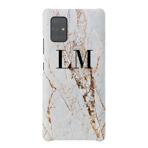 Personalised Cracked Marble Initials Samsung Galaxy A51 5G Case