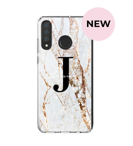 Personalised Cracked Marble Name Initials Huawei P30 Lite Case