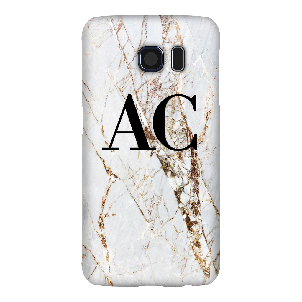 Personalised Cracked Marble Initials Samsung Galaxy S6 Edge Case