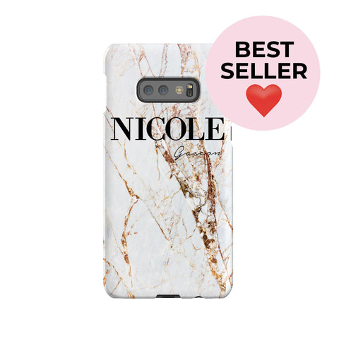 Personalised Cracked Marble Name Samsung Galaxy S10e Case