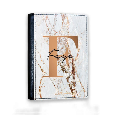 Personalised Cracked Marble Bronze Initials Passport Cover