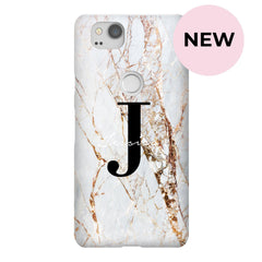 Personalised Cracked Marble Name Initial Google Pixel 2 Case