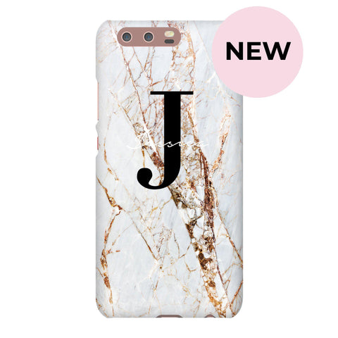 Personalised Cracked Marble Name Initials Huawei P10 Case