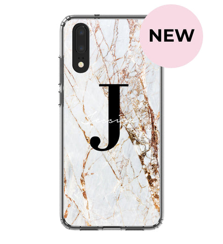 Personalised Cracked Name Marble Initials Huawei P20 Case