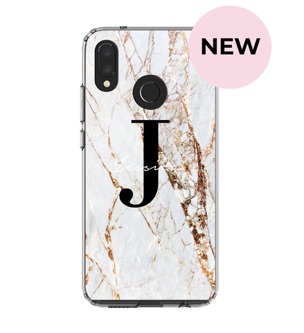 Personalised Cracked Name Marble Initials Huawei P20 Lite Case
