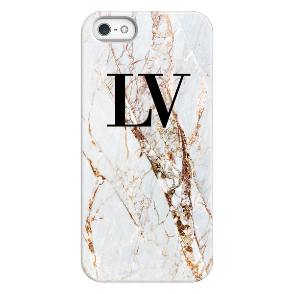 Personalised Cracked Marble Initials iPhone 5/5s/SE (2016) Case