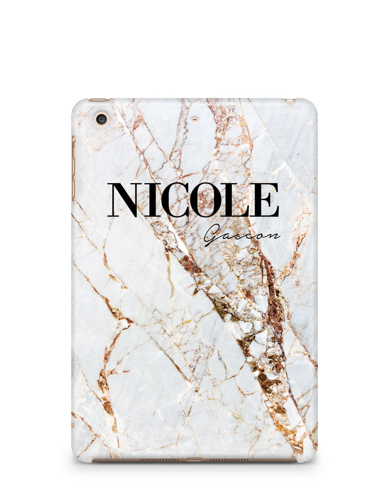 Personalised Cracked Marble Name iPad Case