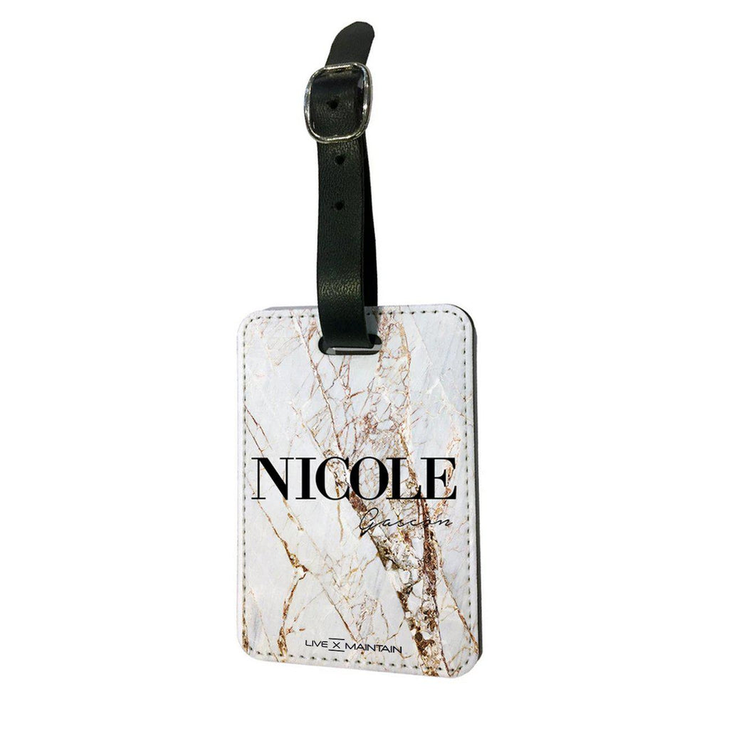 Personalised Cracked Marble Name Luggage Tag