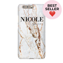 Personalised Cracked Marble Name Huawei P10 Plus Case