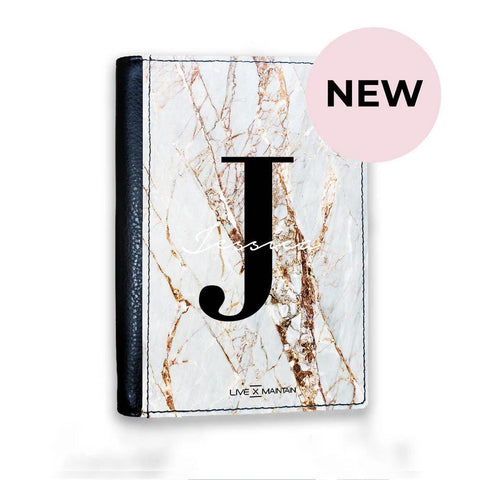 Personalised Cracked Marble Name Initials Passport Cover