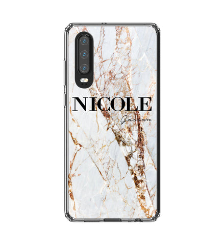 Personalised Cracked Marble Name Huawei P30 Case