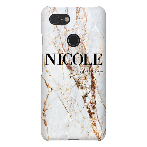 Personalised Cracked Marble Name Google Pixel 3 Case