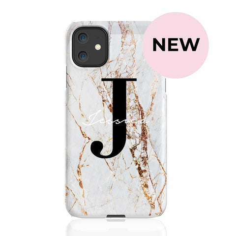 Personalised Cracked Marble Name Initials iPhone 11 Case