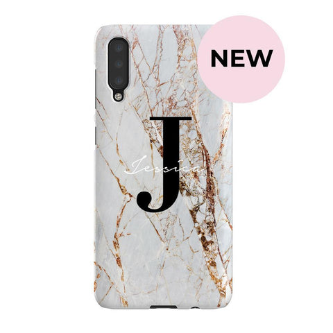 Personalised Cracked Marble Name Initials Samsung Galaxy A50 Case