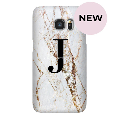 Personalised Cracked Marble Name Initials Samsung Galaxy S7 Edge Case