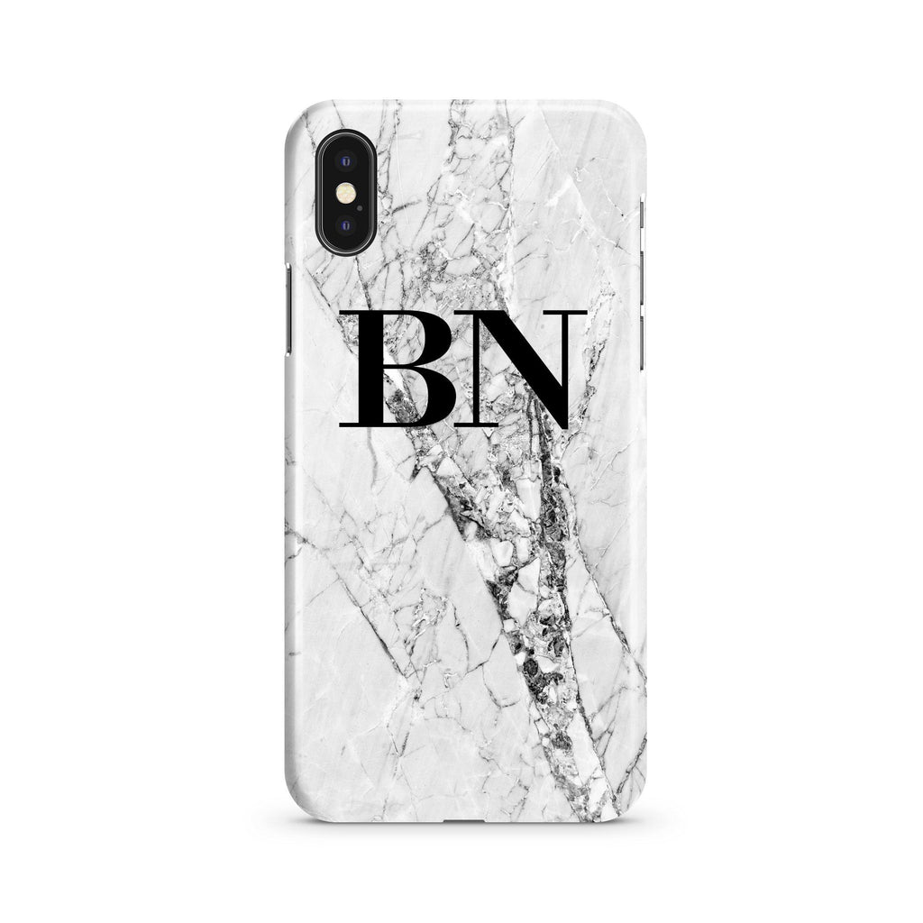 Personalised Cracked White Marble Initials iPhone XS Case