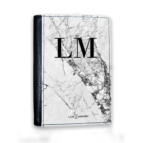 Personalised Cracked White Marble Initials Passport Cover