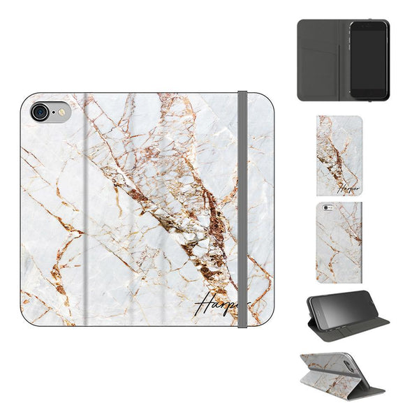 Personalised Cracked Marble Initials iPhone 7 Case