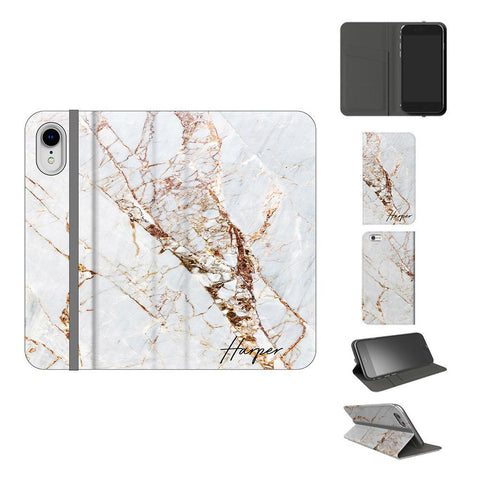 Personalised Cracked Marble Name iPhone XR Case