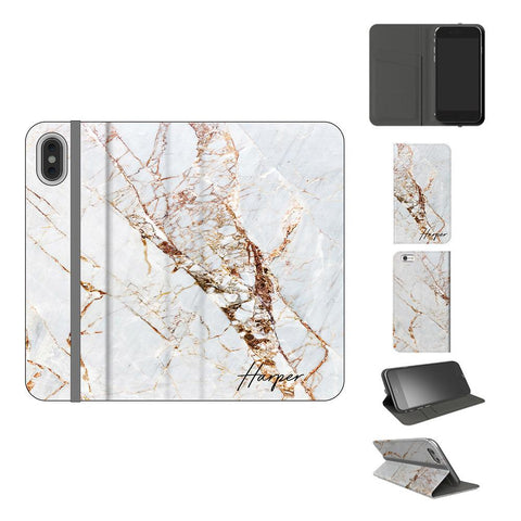 Personalised Cracked Marble Initials iPhone XS Case