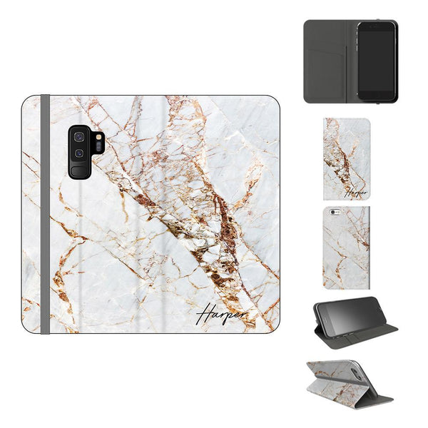 Personalised Cracked Marble Initials Samsung Galaxy S9 Plus Case