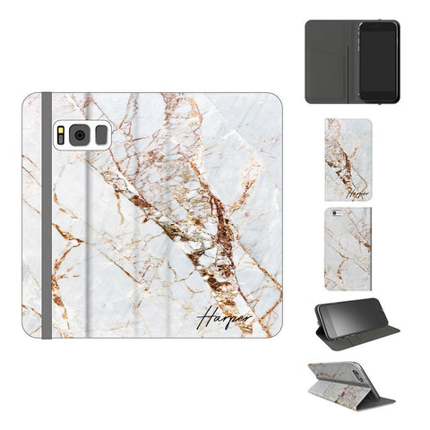 Personalised Cracked Marble Initials Samsung Galaxy S8 Plus Case