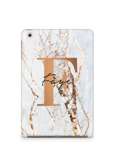 Personalised Cracked Marble Bronze Initials iPad Case